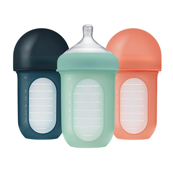 Set 3 Mamaderas con bolsa de silicona 8 oz teal Nursh Boon