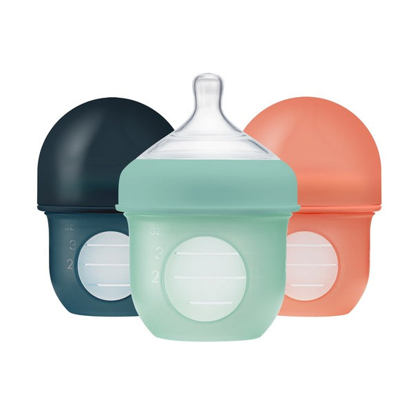 Set 3 Mamaderas con bolsa de silicona 4 oz teal Nursh Boon