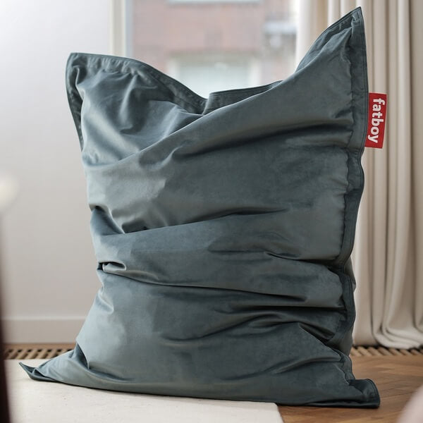 Pouf fatboy the original slim velvet petrol
