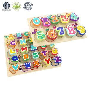 Wooden Puzzles Alphabet Educational Toys For 1 Year Old Girl Boy