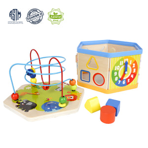 Activity Cube Toys Wooden Bead Maze Shape Sorter Toys For 1 2 Year