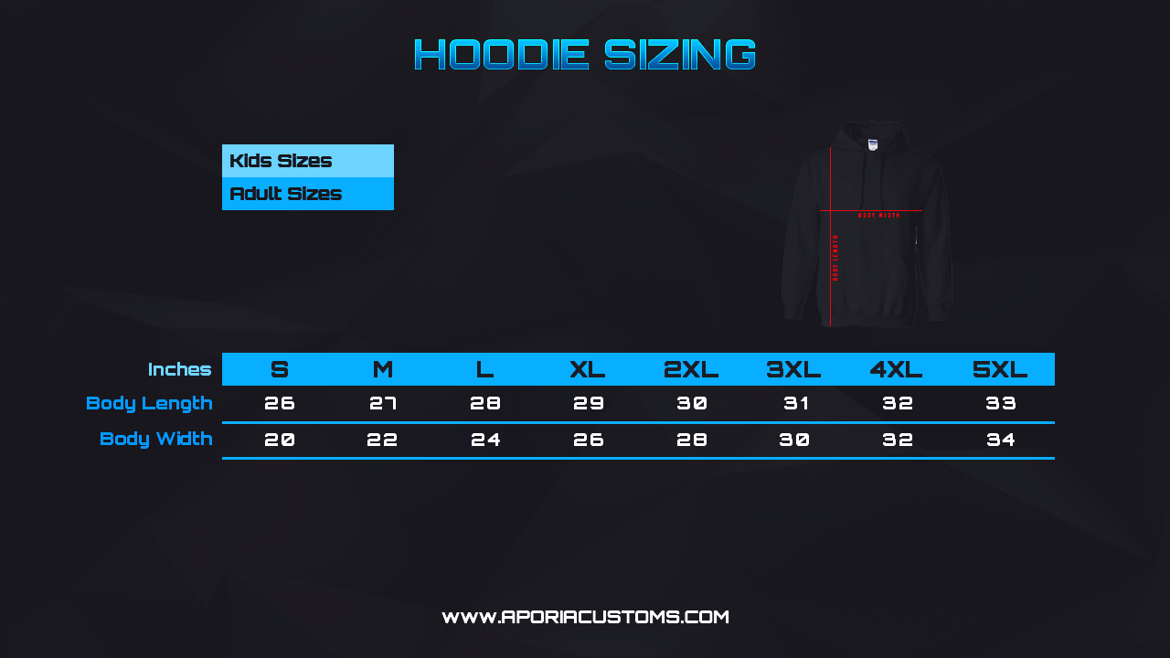 Size Chart: Hoodie