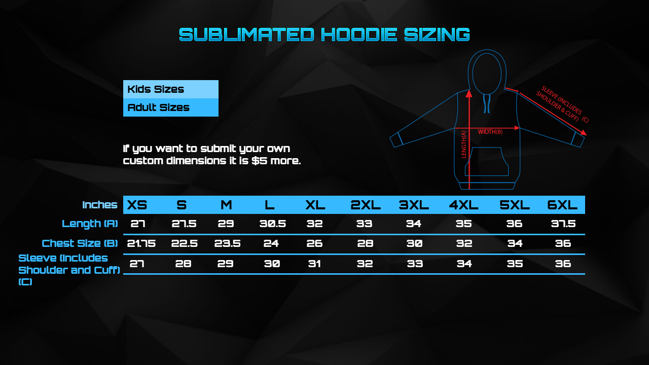 Size Chart: Sublimated Hoodie