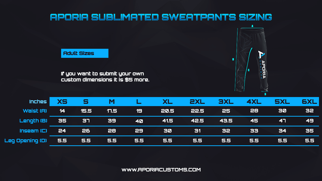 Size Chart: Sublimated Sweatpants/Joggers