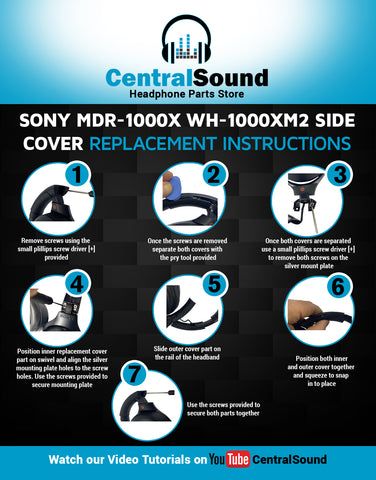 Sony WH-1000XM2 MDR-1000X Headphones How to Replace Broken Headband Slider Side Covers