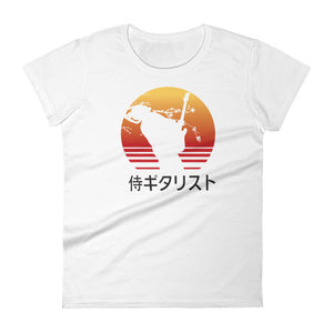 The Guitar Playing Samurai Silhouette Women's Tee (Black Font)