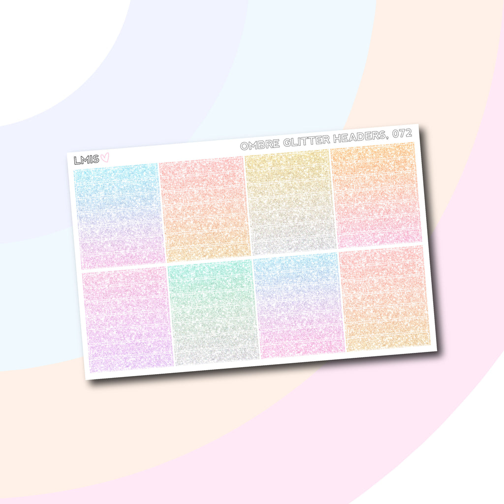 Ombre Glitter Headers for Vertical Planners // 072 - Grab these stickers for your planner and let's get to it! - Let's Make It Sparkle