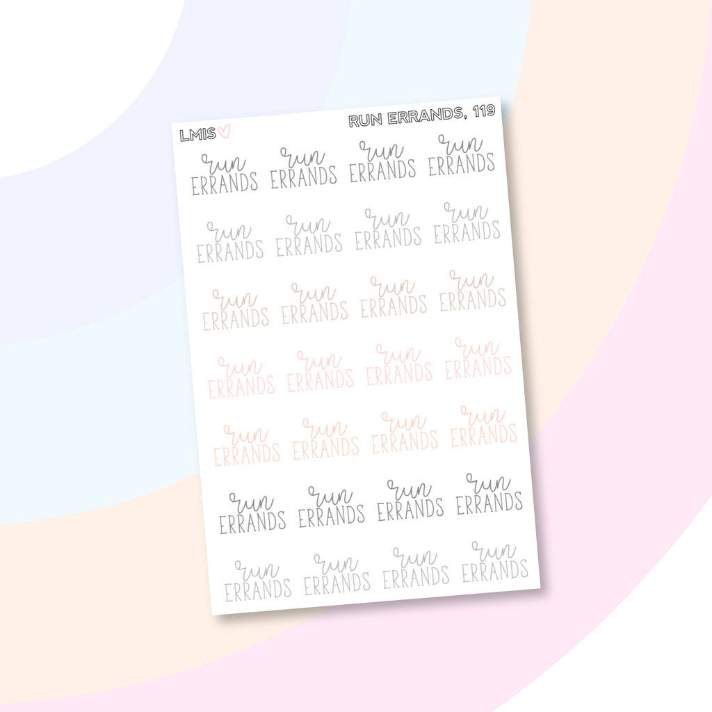 Run Errands Planner Stickers, Neutral Stickers // 119 - Grab these stickers for your planner and let's get to it! - Let's Make It Sparkle