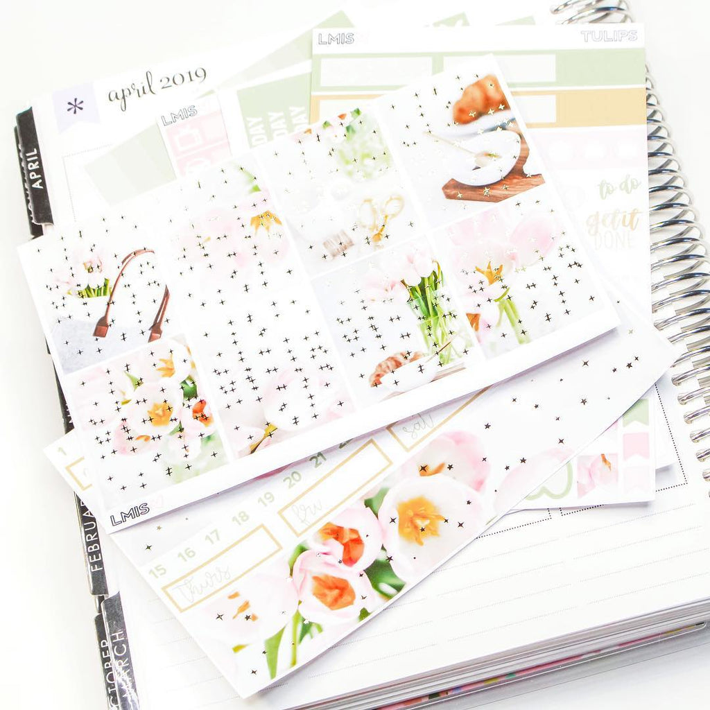 Light Gold Foiled Tulips Planner Sticker Kit // Spring Sticker Kit