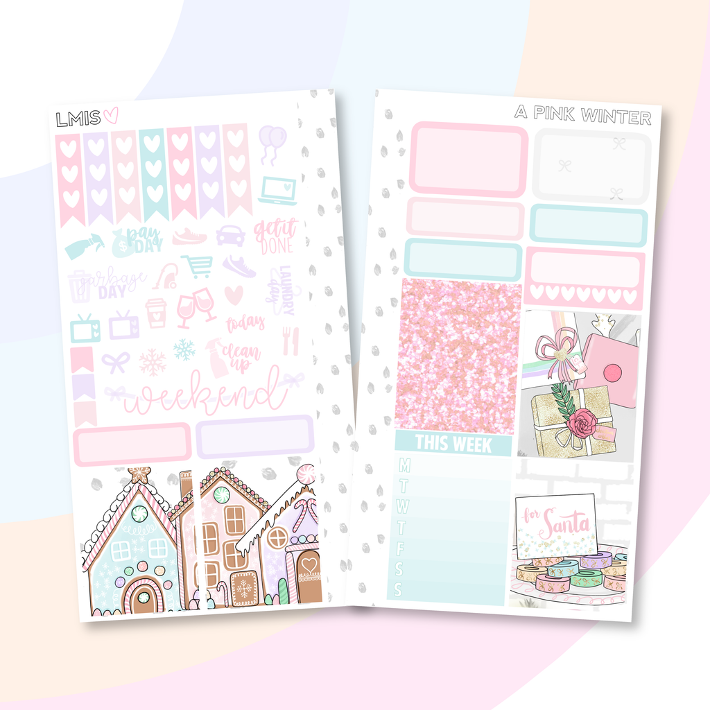 A Pink Winter Personal Planner Sticker Kit for Traveler's Notebooks, TNs and Personal Planners - Grab these stickers for your planner and let's get to it! - Let's Make It Sparkle