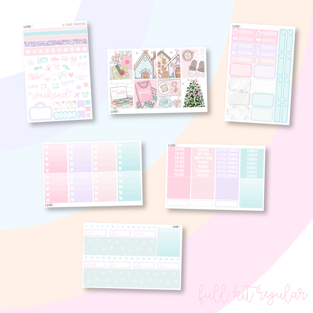 A Pink Winter Vertical Planner Sticker Kit, Christmas Sticker Kit - Grab these stickers for your planner and let's get to it! - Let's Make It Sparkle