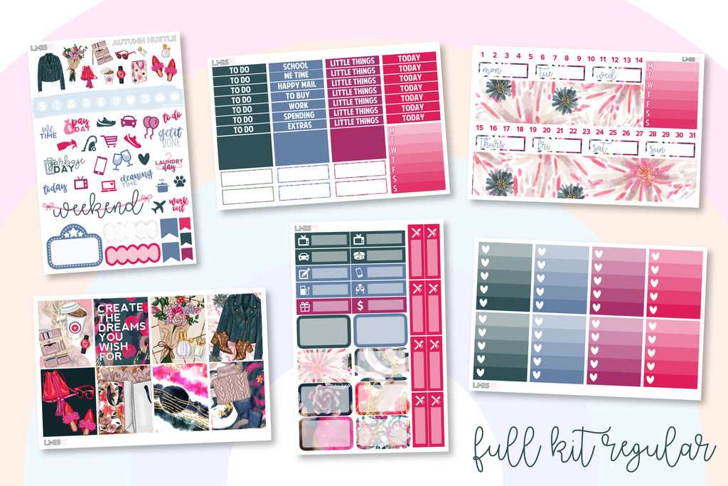 Autumn Hustle Vertical Planner Sticker Kit - Grab these stickers for your planner and let's get to it! - Let's Make It Sparkle