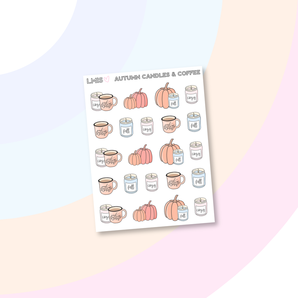 Autumn Candles and Coffee Doodle Planner Stickers, Pumpkin Stickers, Halloween Stickers for Erin Condren, Day Designer and the Happy Planner Active