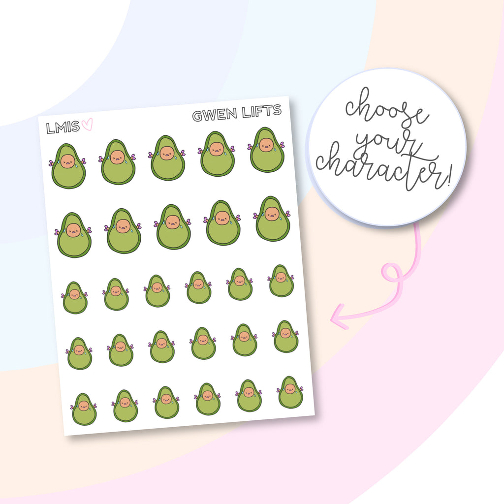 Exercise AvoBabe Planner Stickers - Grab these stickers for your planner and let's get to it! - Let's Make It Sparkle
