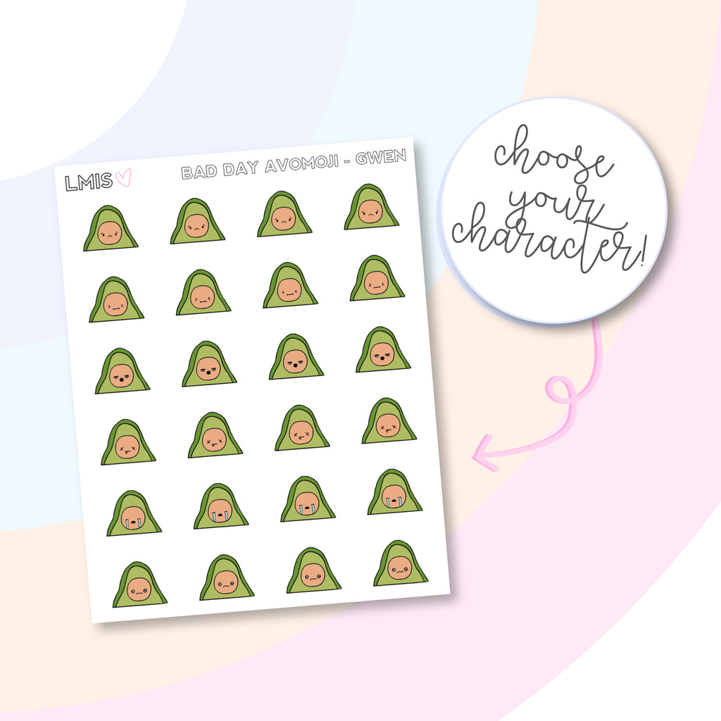 AvoMoji Planner Stickers, AvoBabe Stickers, Bad Day Stickers - Grab these stickers for your planner and let's get to it! - Let's Make It Sparkle