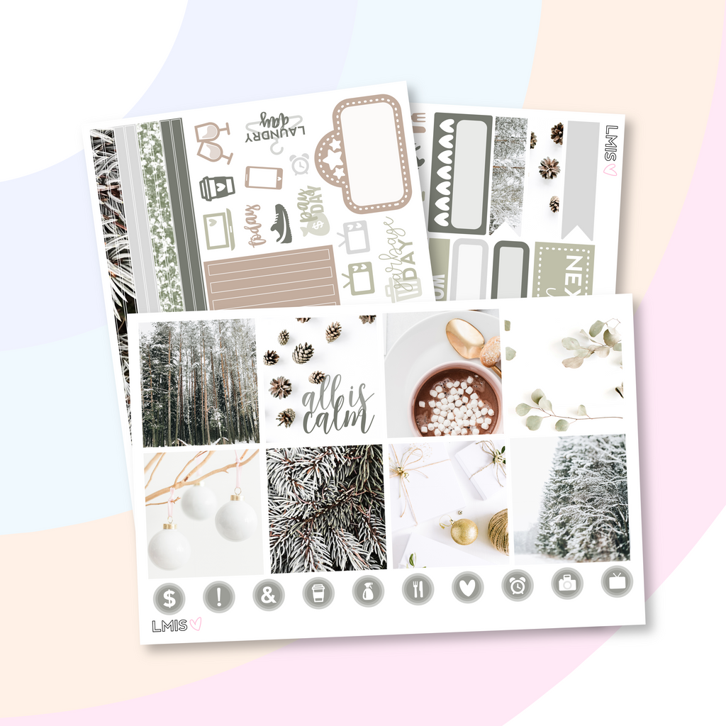 Fresh Balsam Planner Sticker Kit (Horizontal), Christmas Kit - Grab these stickers for your planner and let's get to it! - Let's Make It Sparkle