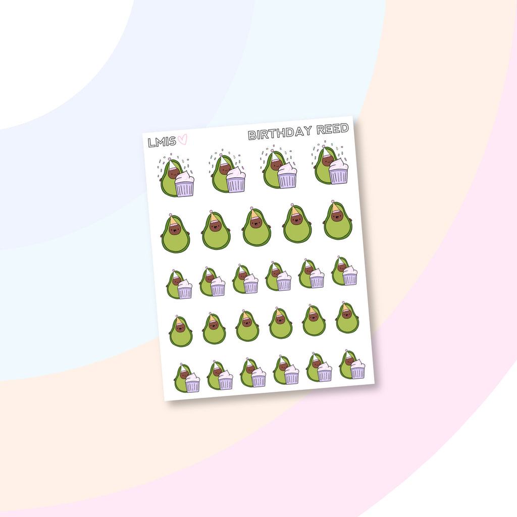 Birthday AvoBabe Planner Stickers - Grab these stickers for your planner and let's get to it! - Let's Make It Sparkle