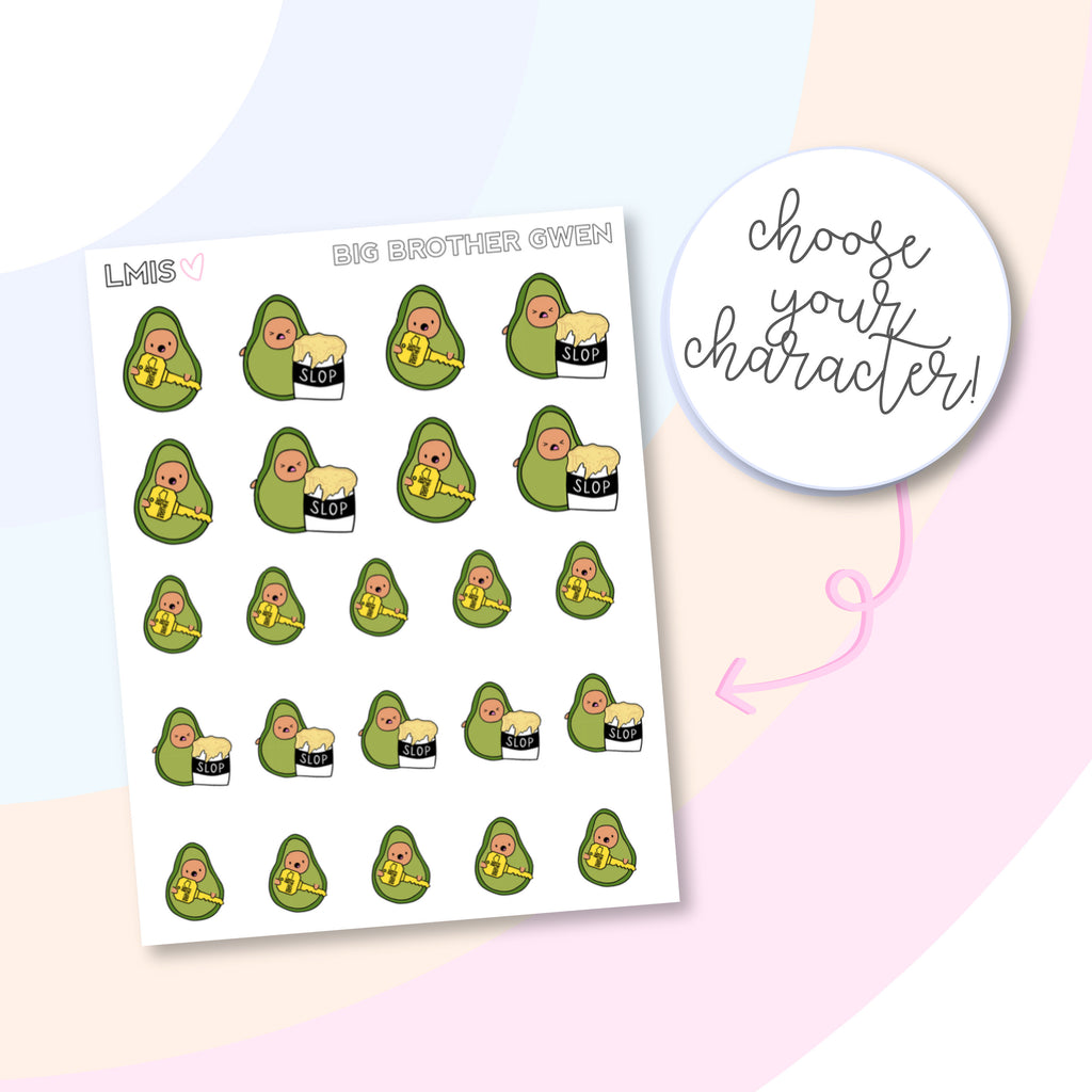 Big Brother AvoBabes Planner Stickers, Avocado Planner Stickers - Grab these stickers for your planner and let's get to it! - Let's Make It Sparkle