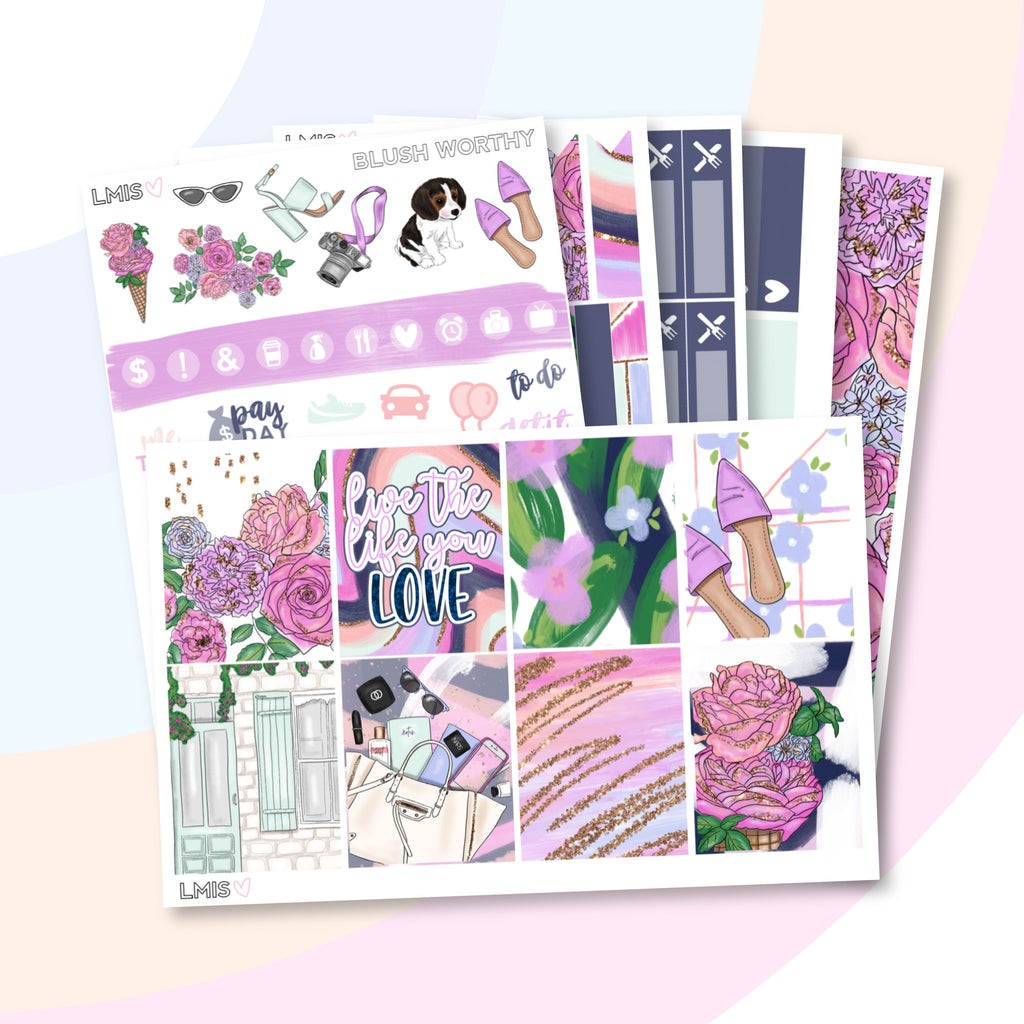 Blush Worthy Sticker Kit for the Erin Condren Life Planner (Vertical) - Grab these stickers for your planner and let's get to it! - Let's Make It Sparkle