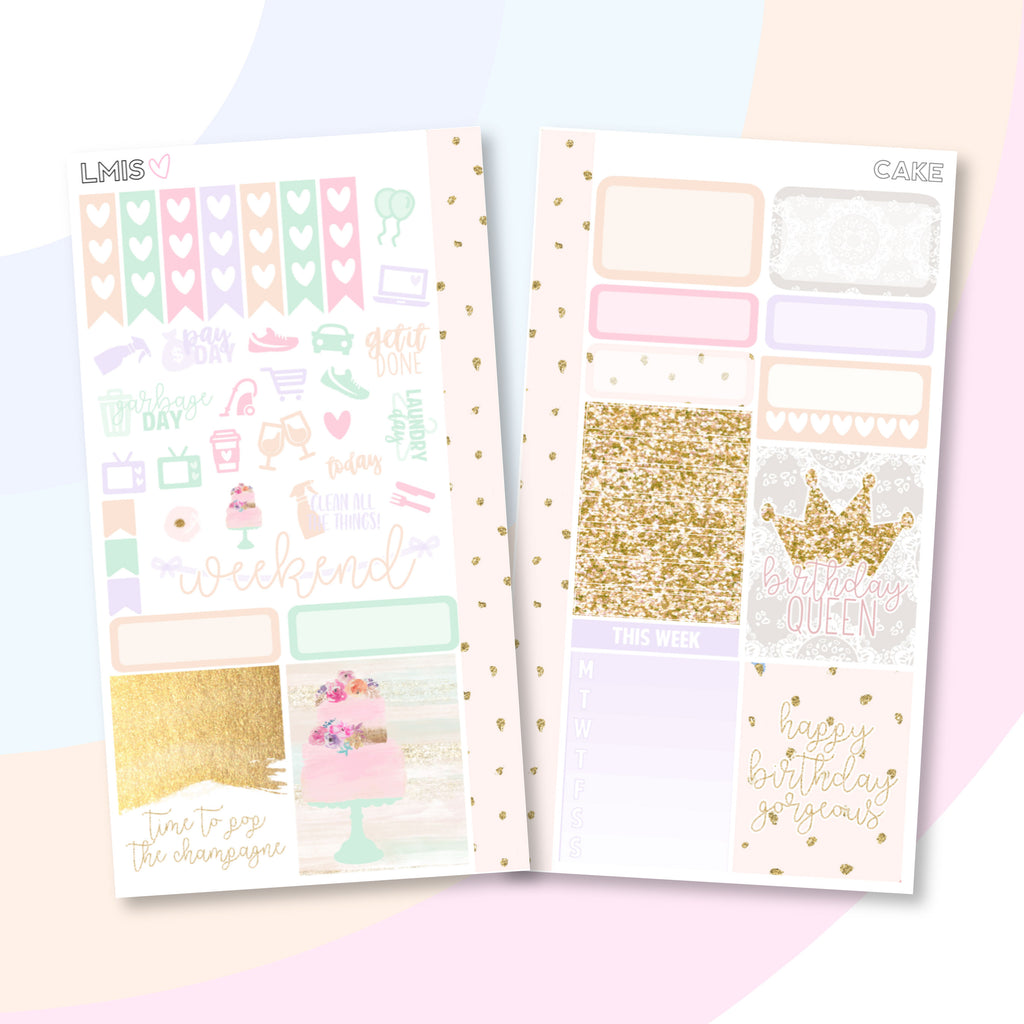 Cake Personal Planner Sticker Kit - Grab these stickers for your planner and let's get to it! - Let's Make It Sparkle