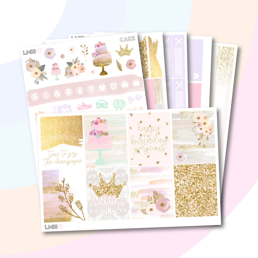 Cake Vertical Planner Sticker Kit - Grab these stickers for your planner and let's get to it! - Let's Make It Sparkle