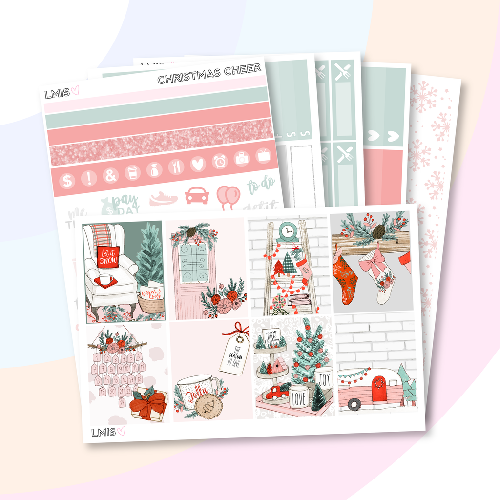 Christmas Cheer Vertical Planner Sticker Kit, Christmas Sticker Kit - Grab these stickers for your planner and let's get to it! - Let's Make It Sparkle