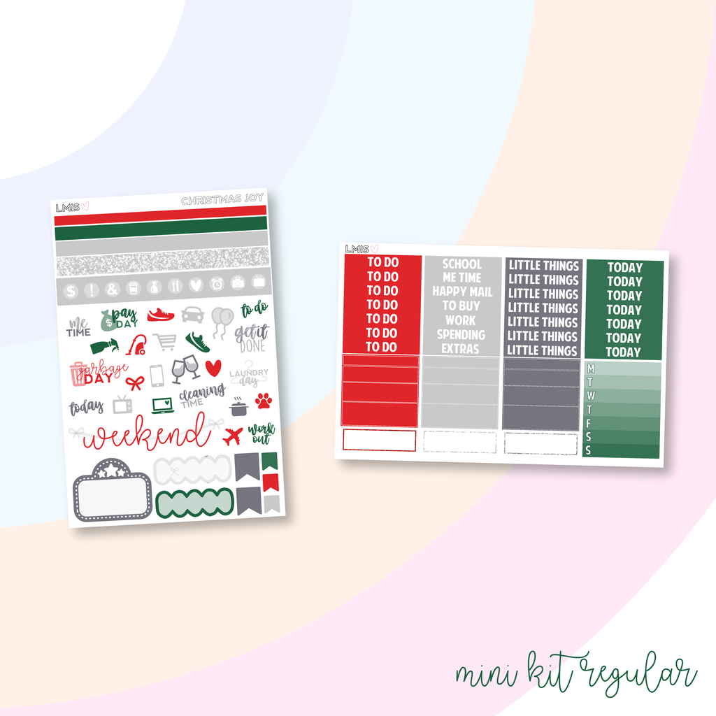 Christmas Joy Vertical Planner Sticker Kit, Christmas Sticker Kit - Grab these stickers for your planner and let's get to it! - Let's Make It Sparkle