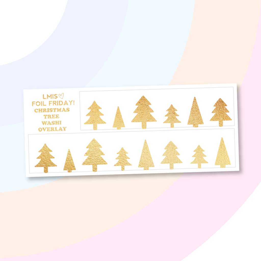 Foil Clear Christmas Tree Bottom Washi Overlay Stickers - Grab these stickers for your planner and let's get to it! - Let's Make It Sparkle