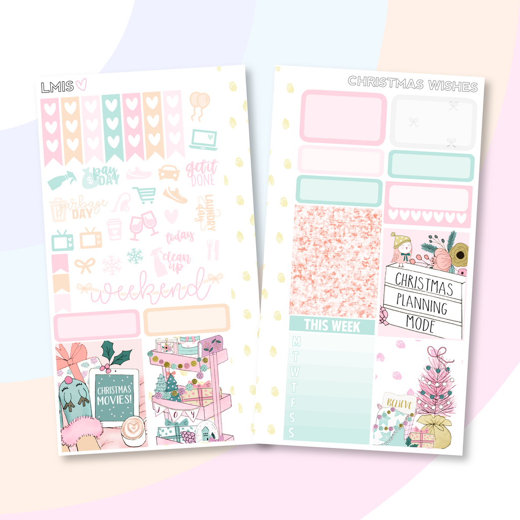 Christmas Wishes Personal Planner Sticker Kit for Traveler's Notebooks, TNs and Personal Planners - Grab these stickers for your planner and let's get to it! - Let's Make It Sparkle