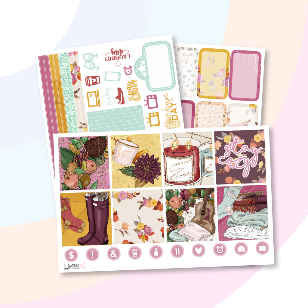 Cozy Vibes Planner Sticker Kit (Horizontal) - Grab these stickers for your planner and let's get to it! - Let's Make It Sparkle