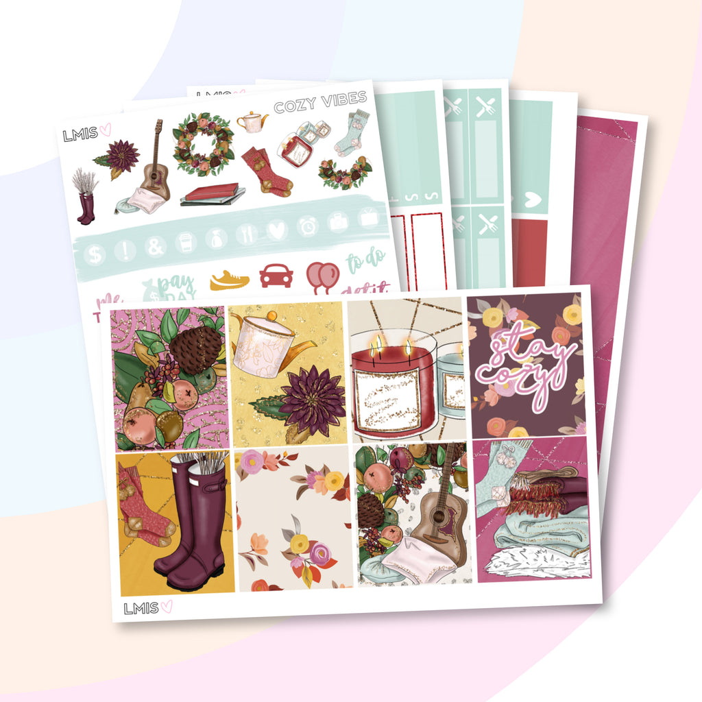 Cozy Vibes Vertical Planner Sticker Kit - Grab these stickers for your planner and let's get to it! - Let's Make It Sparkle