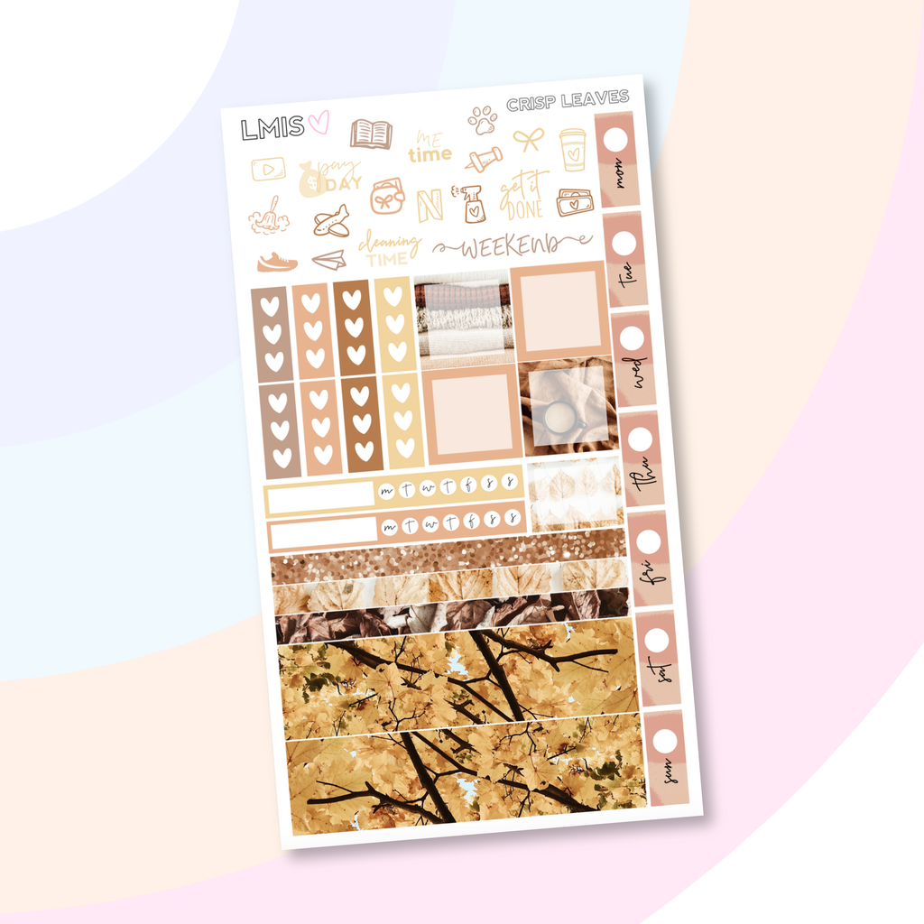 Crisp Leaves Hobonichi Weeks Planner Sticker Kit / 1 Sheet // Fall Sticker Kit // H Weeks