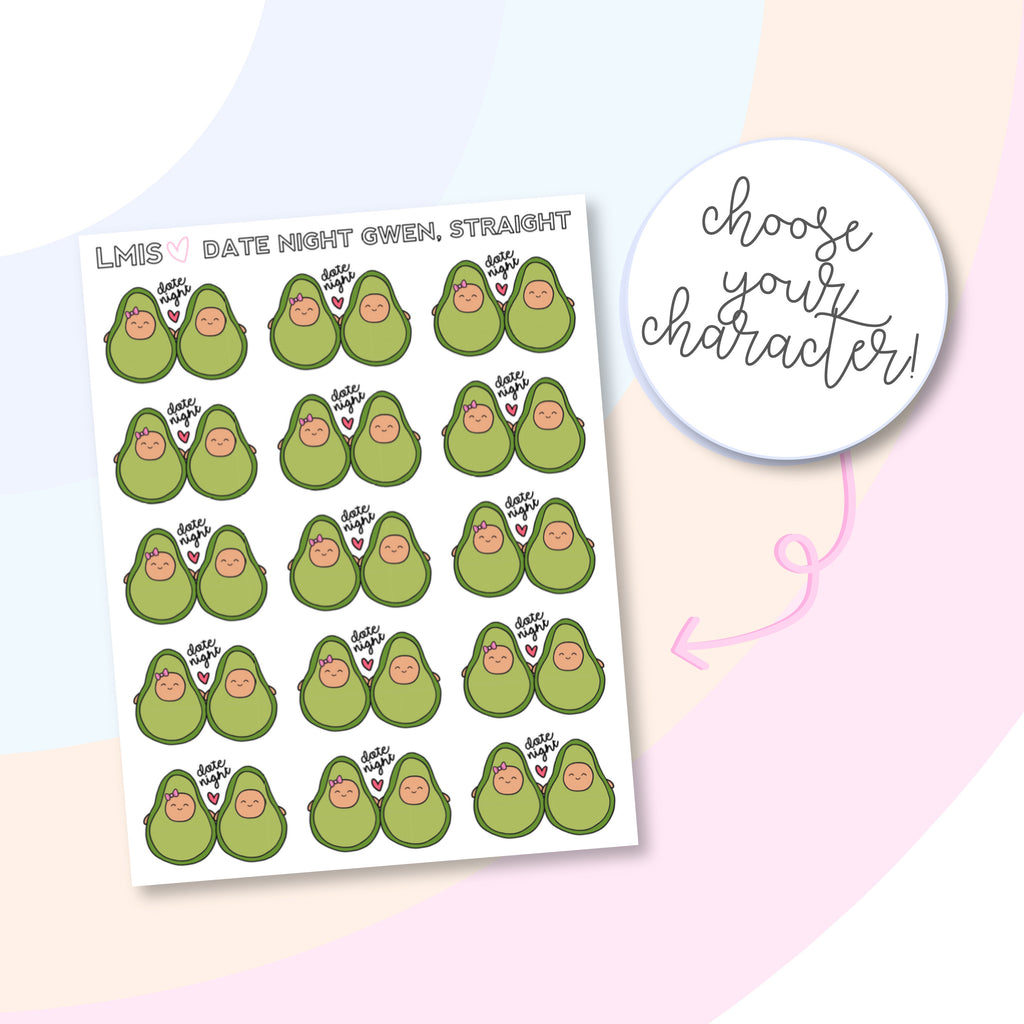 Date Night AvoBabes Planner Stickers - Grab these stickers for your planner and let's get to it! - Let's Make It Sparkle