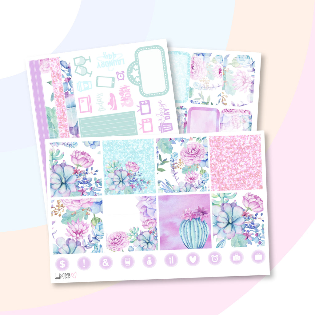 Desert Dreams Horizontal Planner Sticker Kit (Succulent Stickers) - Grab these stickers for your planner and let's get to it! - Let's Make It Sparkle
