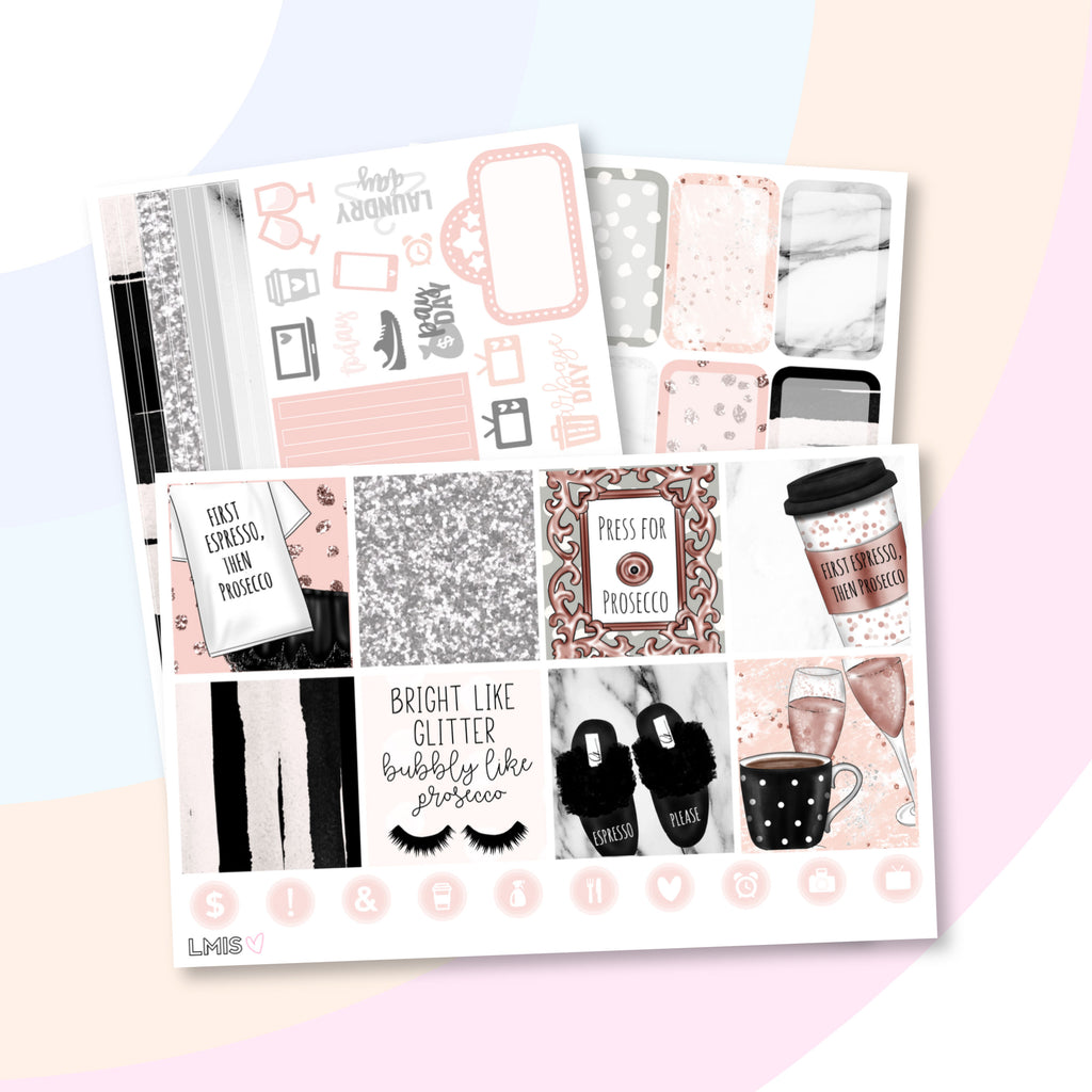 Espresso then Prosecco (Horizontal) - Grab these stickers for your planner and let's get to it! - Let's Make It Sparkle