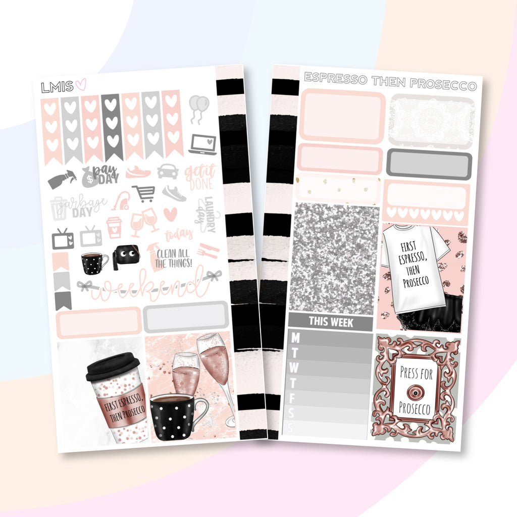 Espresso then Prosecco Personal Planner Sticker Kit for Traveler's Notebooks, TNs and Personal Planners - Grab these stickers for your planner and let's get to it! - Let's Make It Sparkle