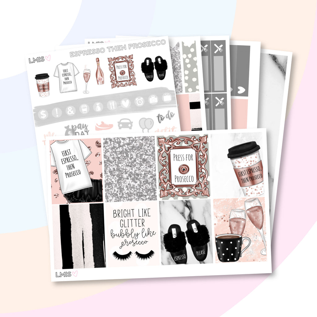 Espresso Then Prosecco Planner Sticker Kit (Vertical) - Grab these stickers for your planner and let's get to it! - Let's Make It Sparkle
