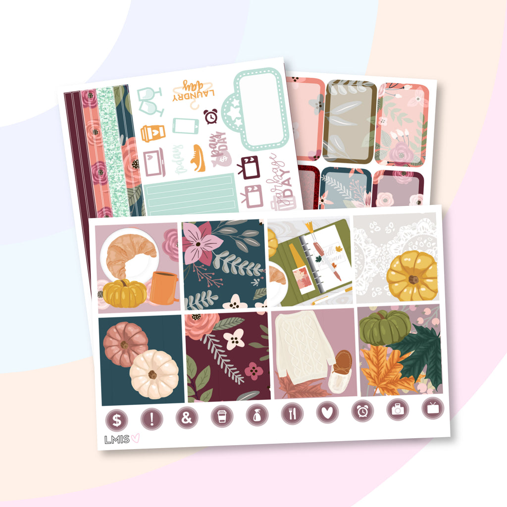 Fall Day Planner Sticker Kit (Horizontal) - Grab these stickers for your planner and let's get to it! - Let's Make It Sparkle