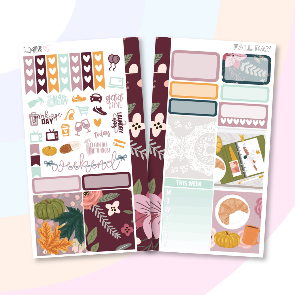 Fall Day Personal Planner Sticker Kit for Traveler's Notebooks, TNs and Personal Planners, Autumn Personal Sticker Kit, Autumn Stickers - Grab these stickers for your planner and let's get to it! - Let's Make It Sparkle
