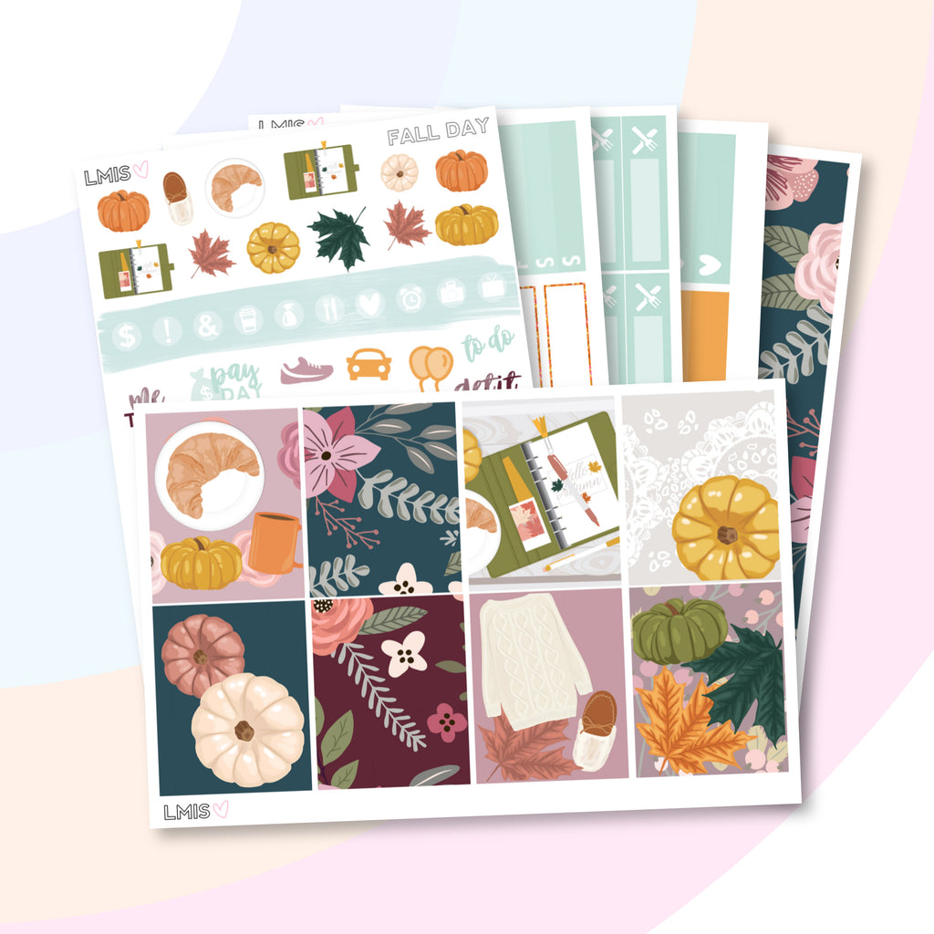 Fall Day Vertical Planner Sticker Kit - Grab these stickers for your planner and let's get to it! - Let's Make It Sparkle