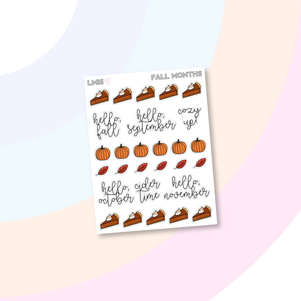 Fall Month Doodle Planner Stickers, Autumn Doodles - Grab these stickers for your planner and let's get to it! - Let's Make It Sparkle