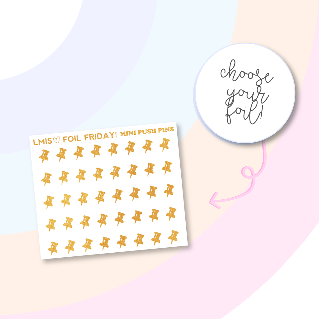 Foiled Push Pin Planner Stickers