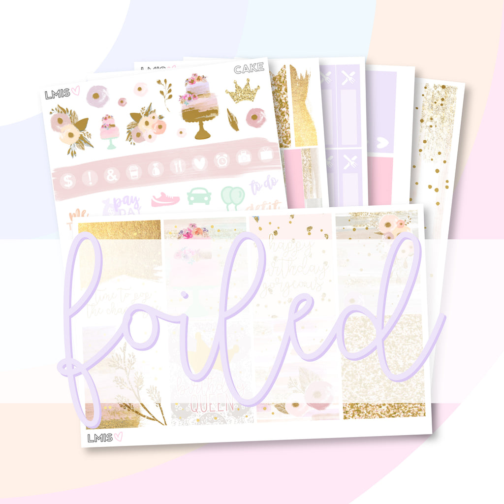 Gold Foiled Cake Planner Sticker Kit // Birthday Sticker Kit - Grab these stickers for your planner and let's get to it! - Let's Make It Sparkle