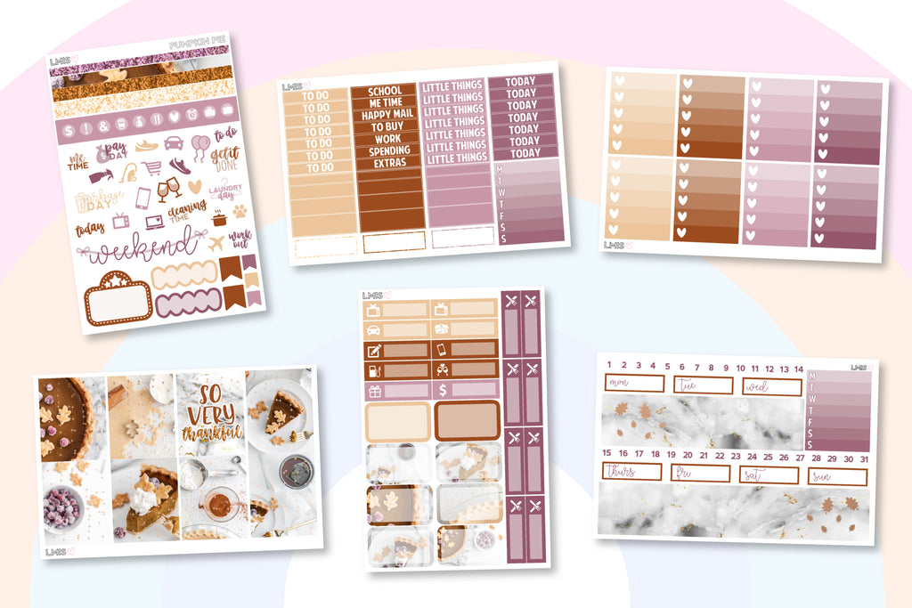 Rose Gold Foiled Pumpkin Pie Planner Sticker Kit // Thanksgiving Sticker Kit - Grab these stickers for your planner and let's get to it! - Let's Make It Sparkle