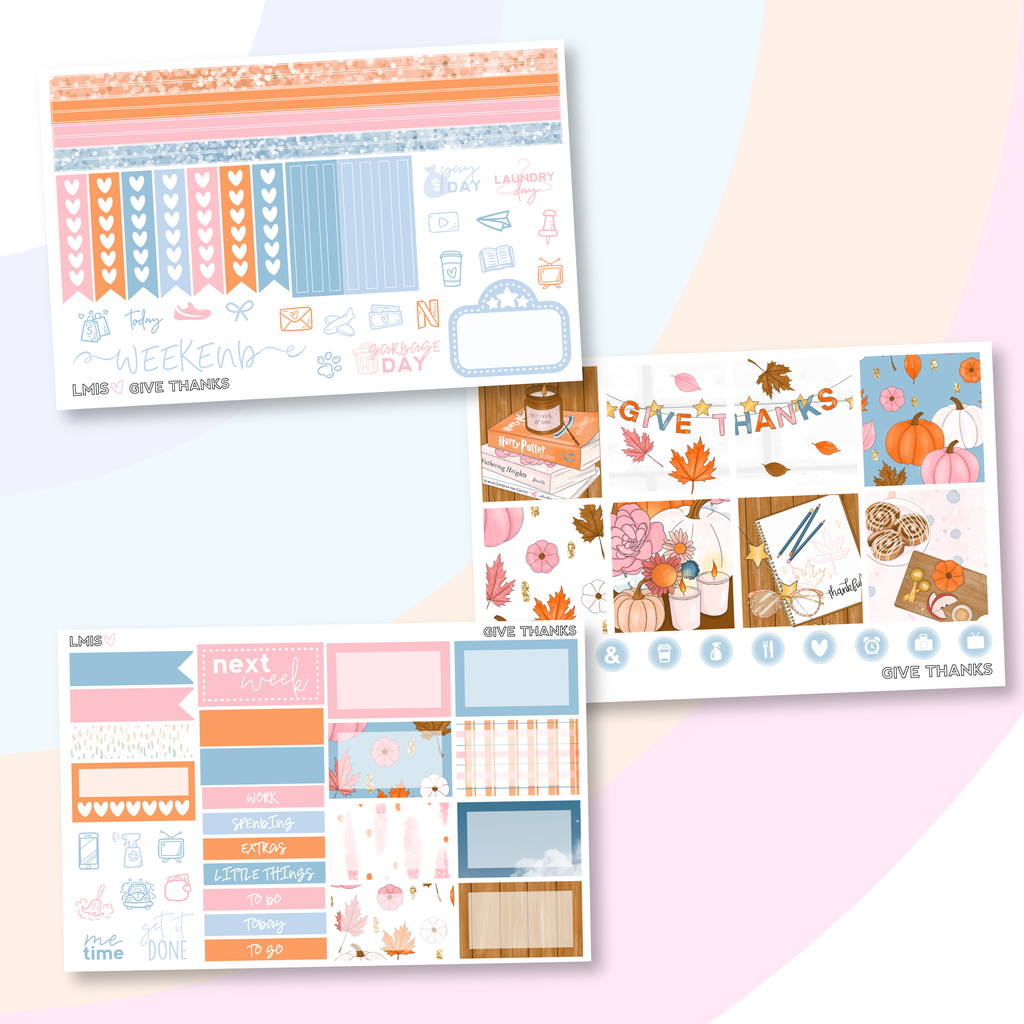 Give Thanks Sticker Kit (Horizontal), Fall Sticker Kit