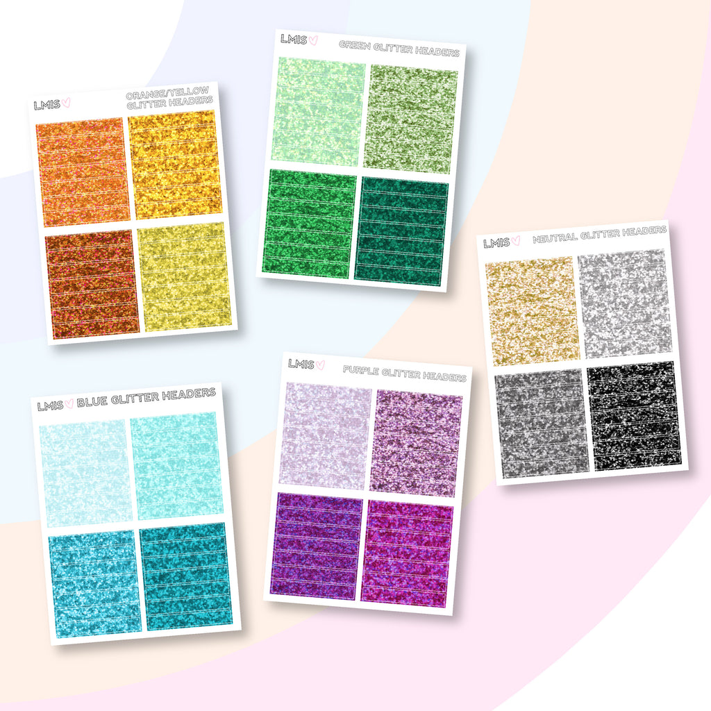 Mini Glitter Header Sticker Sheets - Grab these stickers for your planner and let's get to it! - Let's Make It Sparkle