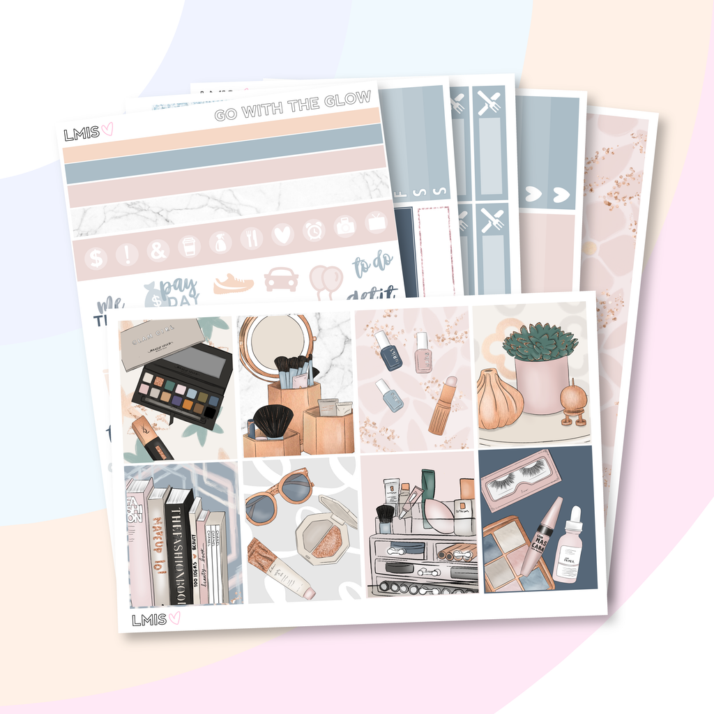 Go With The Glow Vertical Planner Sticker Kit, Makeup Sticker Kit - Grab these stickers for your planner and let's get to it! - Let's Make It Sparkle