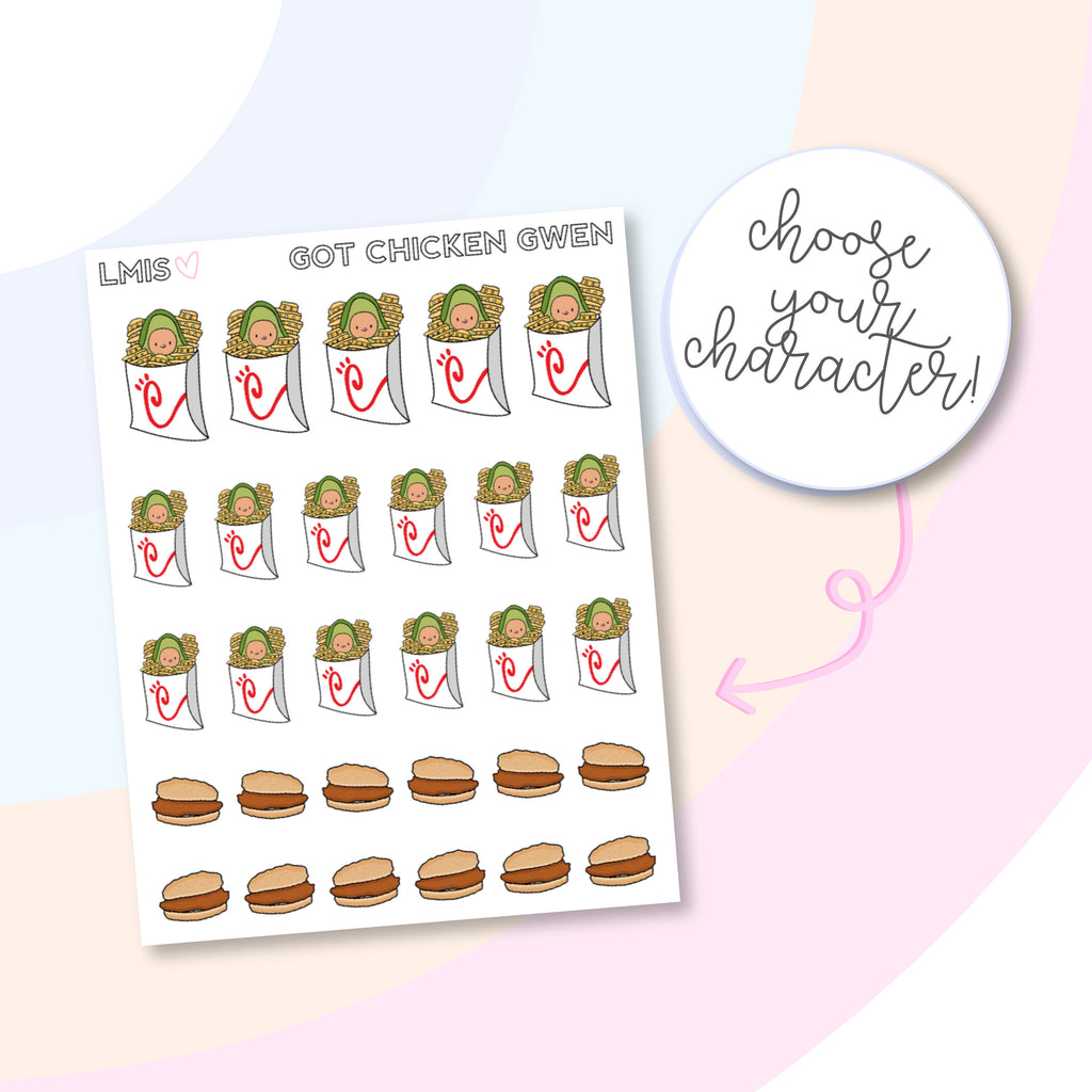 Got Chicken Planner Stickers, AvoBabe Stickers, Fast Food Stickers - Grab these stickers for your planner and let's get to it! - Let's Make It Sparkle