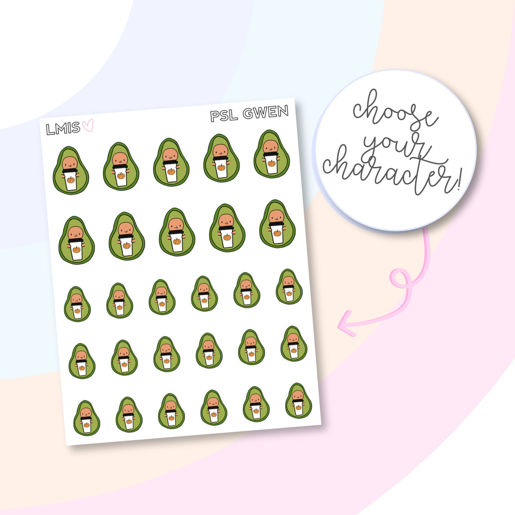 Pumpkin Spice Latte AvoBabes Planner Stickers, Avocado Planner Stickers, PSL Stickers, Fall Coffee Stickers - Grab these stickers for your planner and let's get to it! - Let's Make It Sparkle