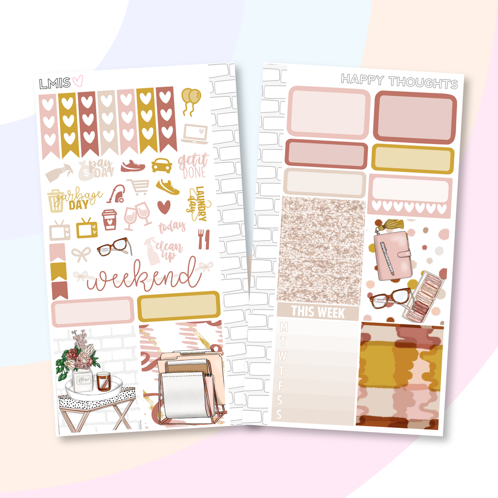 Happy Thoughts Personal Planner Sticker Kit for Traveler's Notebooks, TNs and Personal Planners